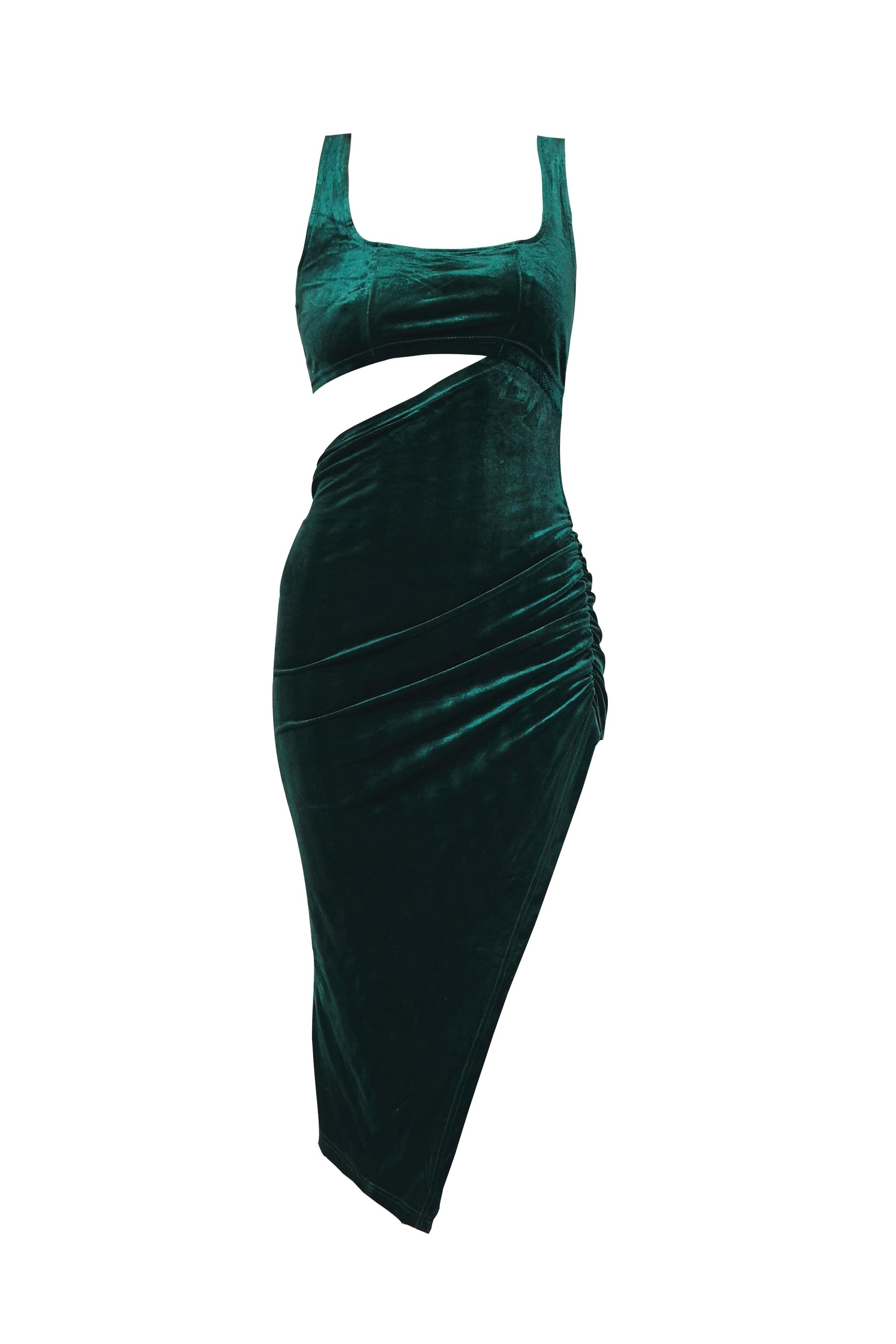 Emerald Green Velvet Sleeveless Cut Out Midi Dress 5