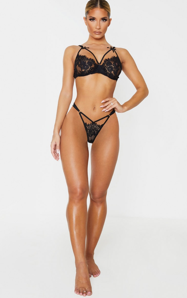 Black Lace Harness Lingerie Set 4