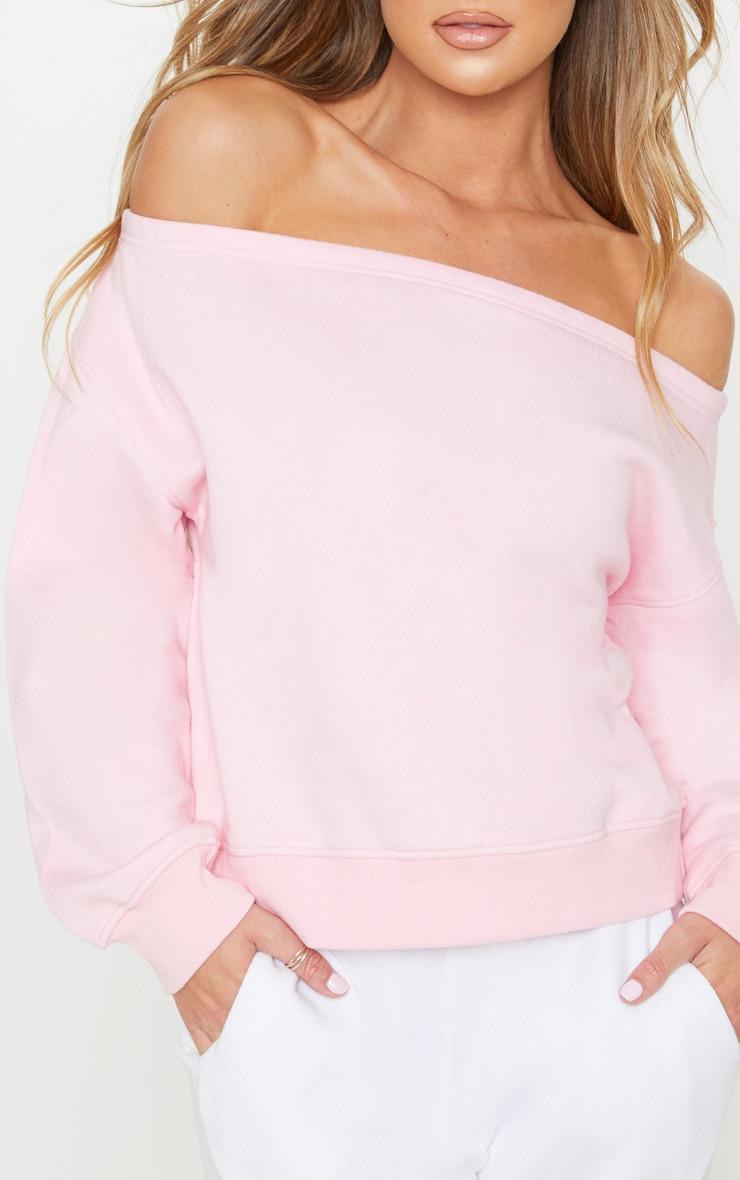 Baby Pink Bardot Oversized Sweater 5