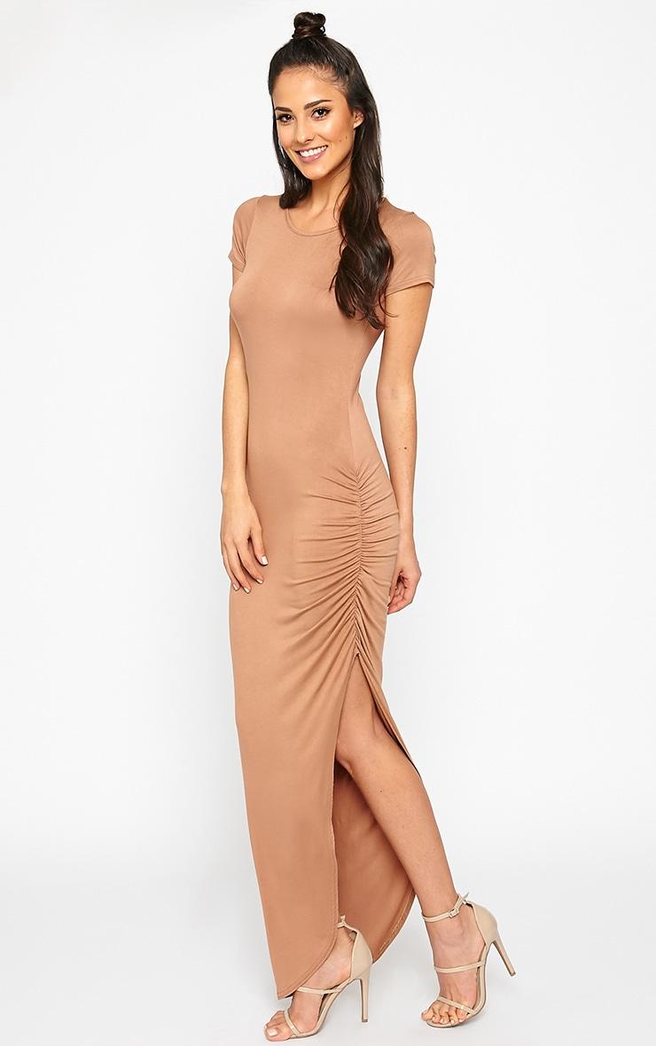 Basic Camel Ruched Cap Sleeve Maxi Dress 3