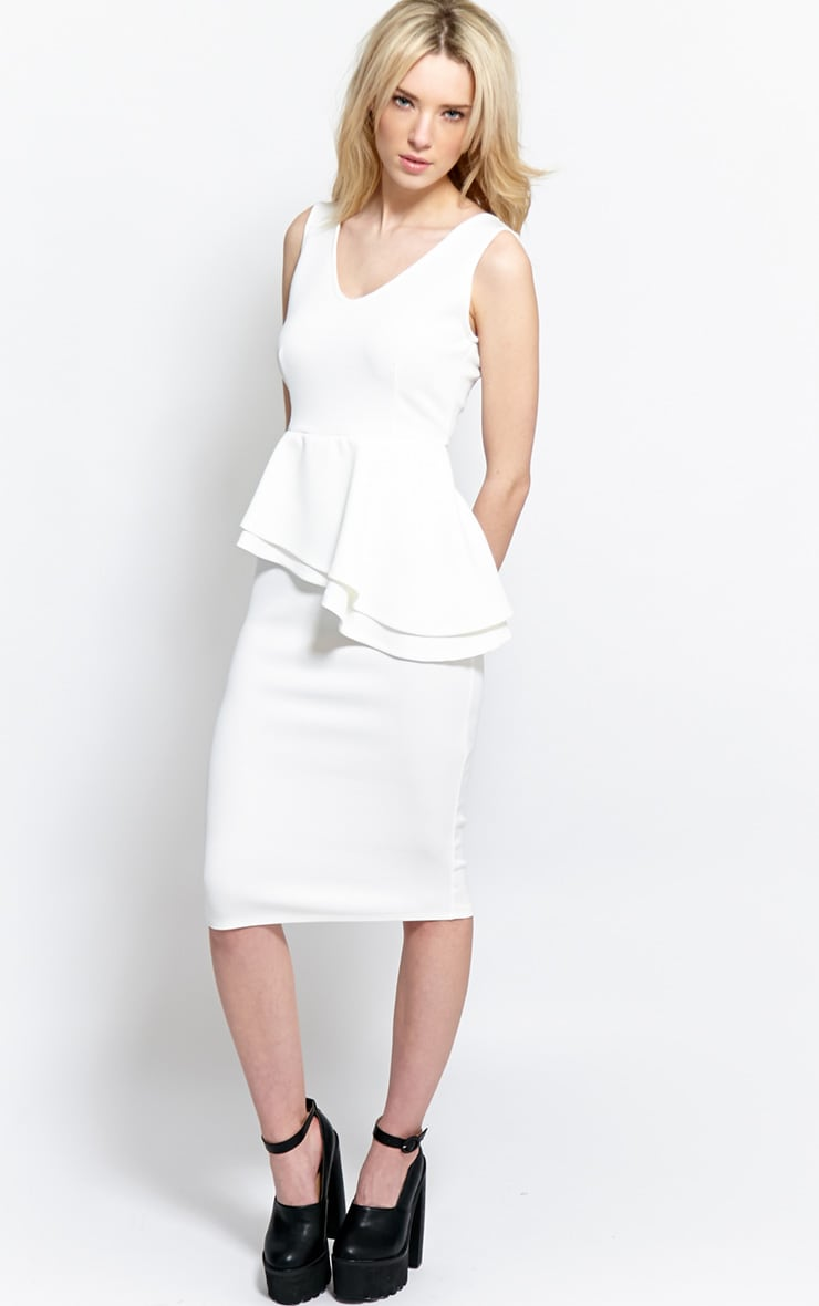 Glenda White Peplum Midi Dress 1