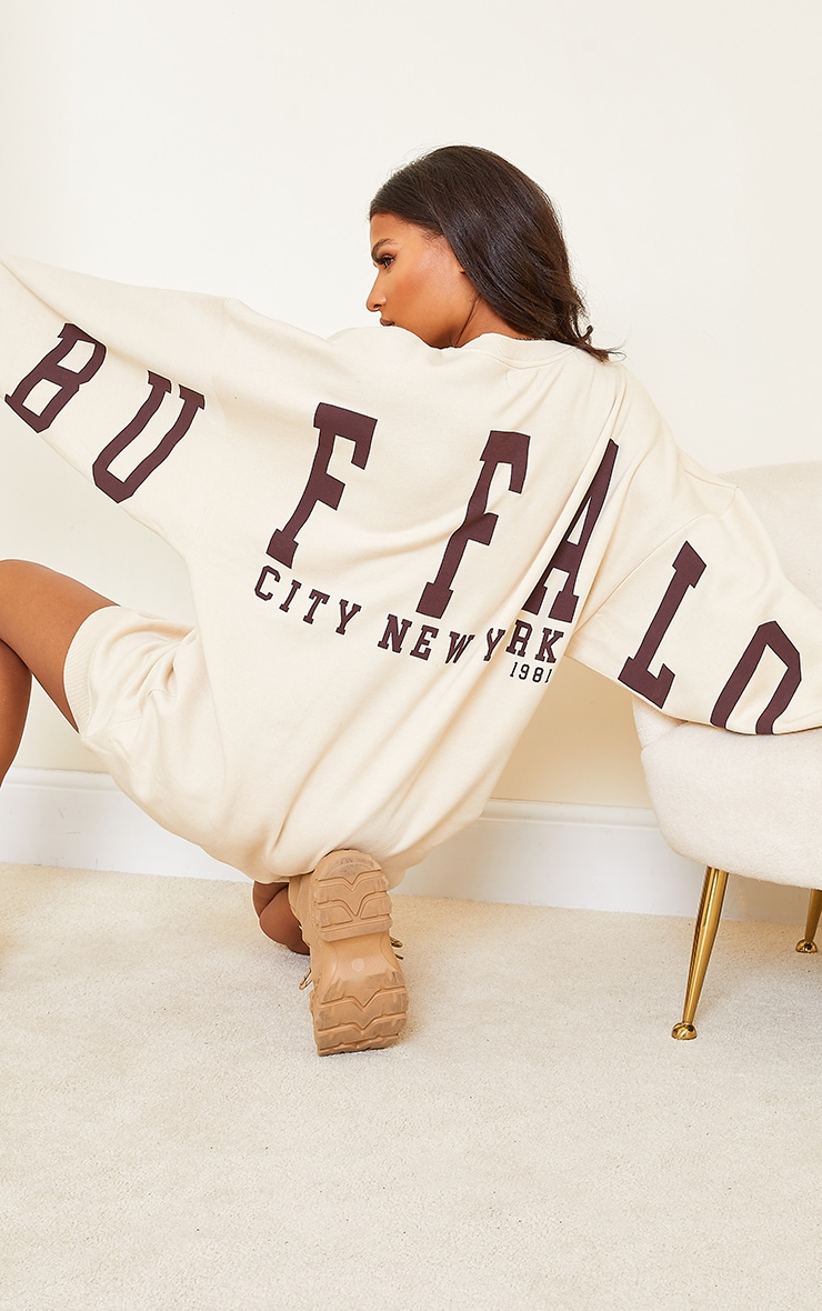 Cream Buffalo New York Slogan Sweat Jumper Dress 4