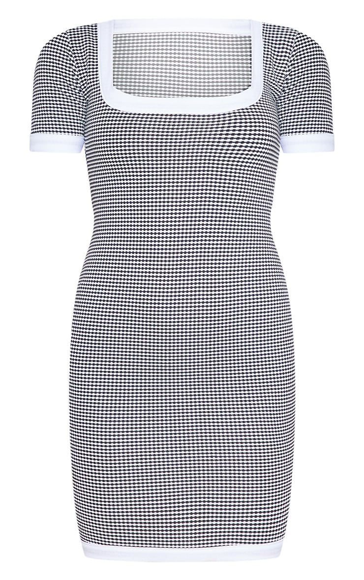 Mono Houndstooth Square Neck Fitted Mini Dress 4