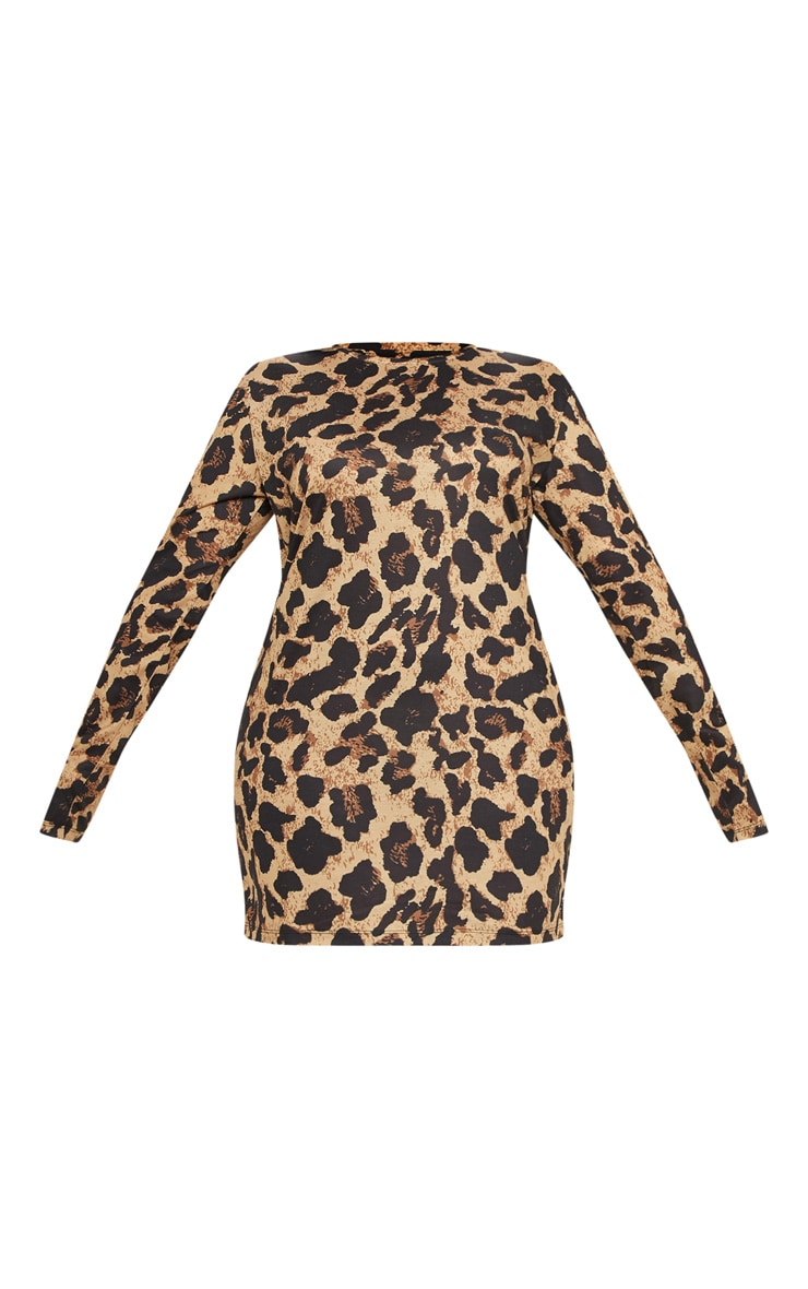 Plus Brown Leopard Print Oversized Long Sleeve T Shirt Dress 3