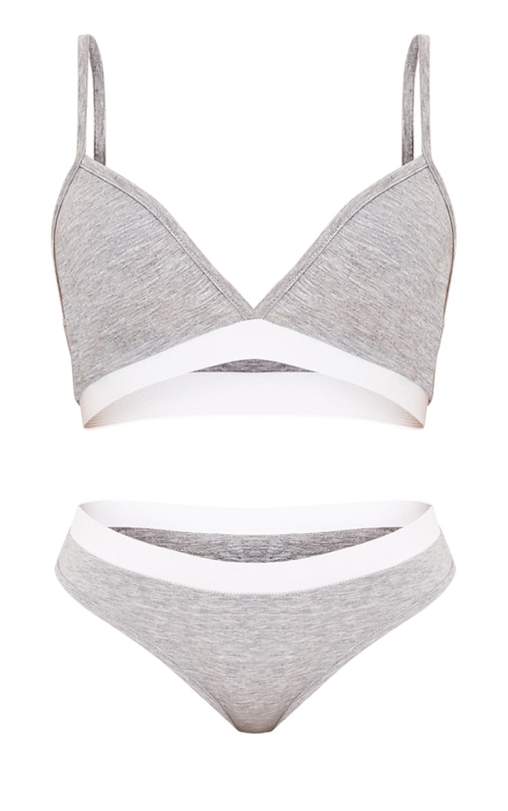 Basic Grey Jersey Bra and Knickers Set 3
