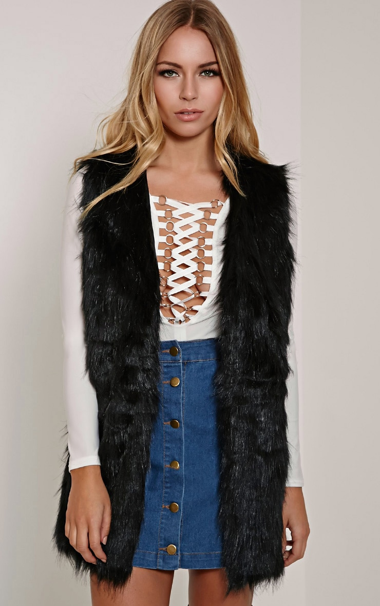 Cristina Black Faux Fur Gilet 1