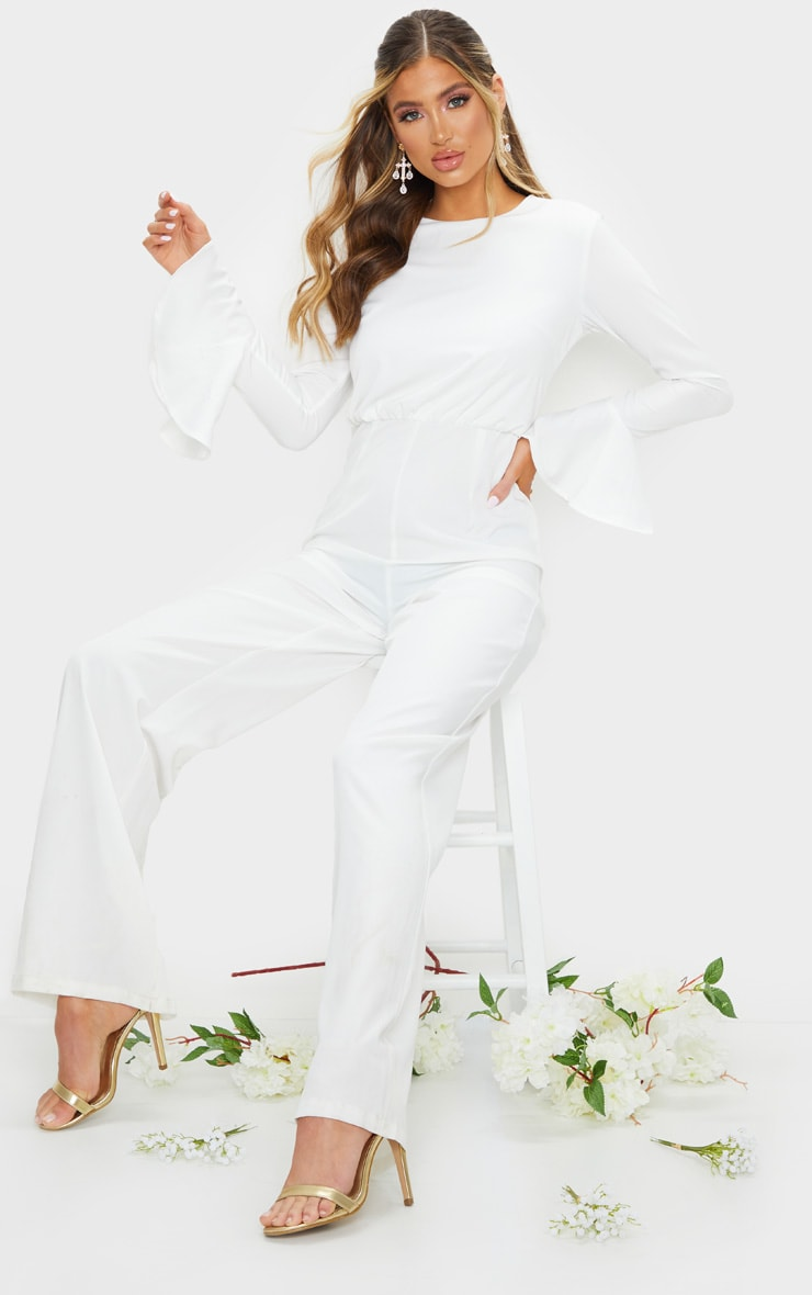 White Frill Sleeve Wide Leg Jumpsuit 1