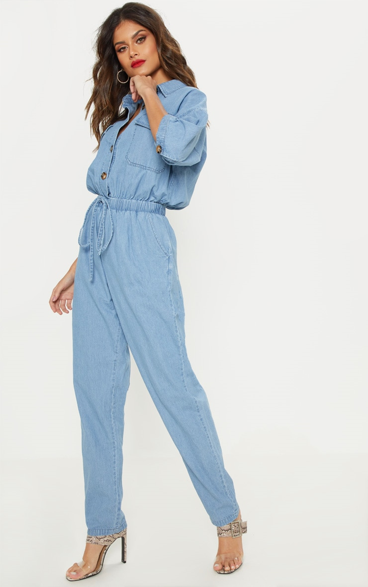 Light Wash Tortoise Button Chambray Jumpsuit  4