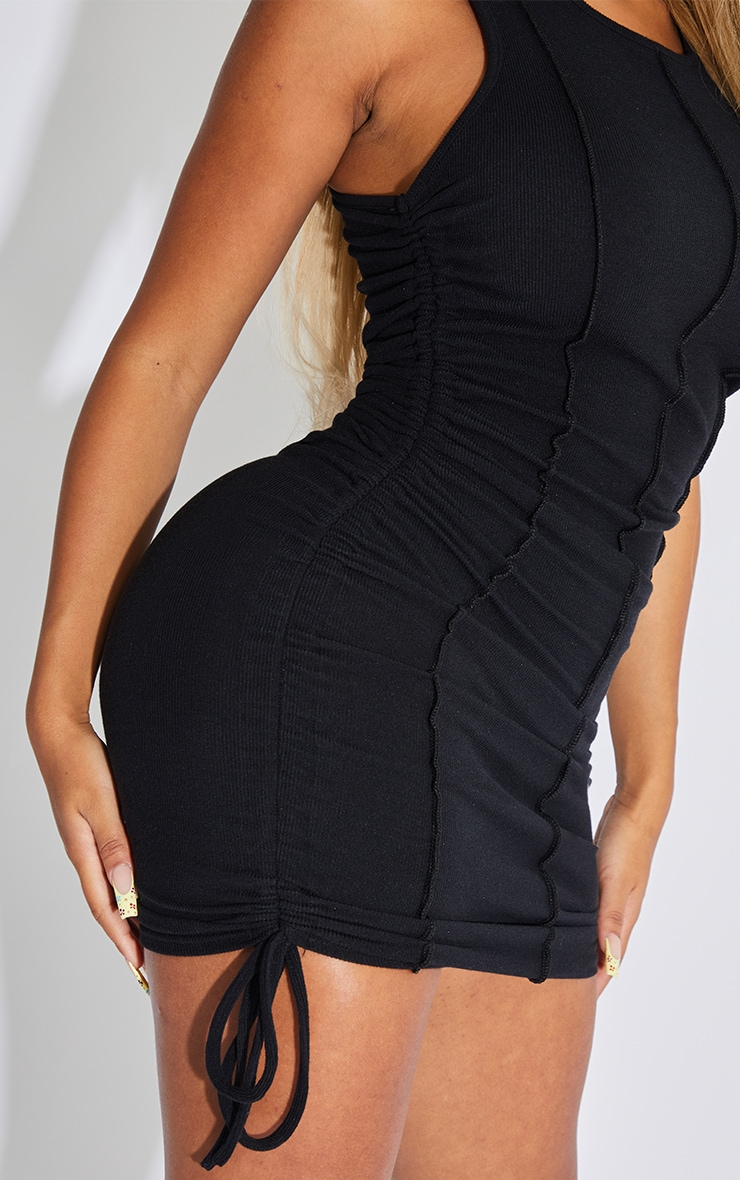 Shape Black Overlock Stitch Sleeveless Ruched Side Bodycon Dress 4