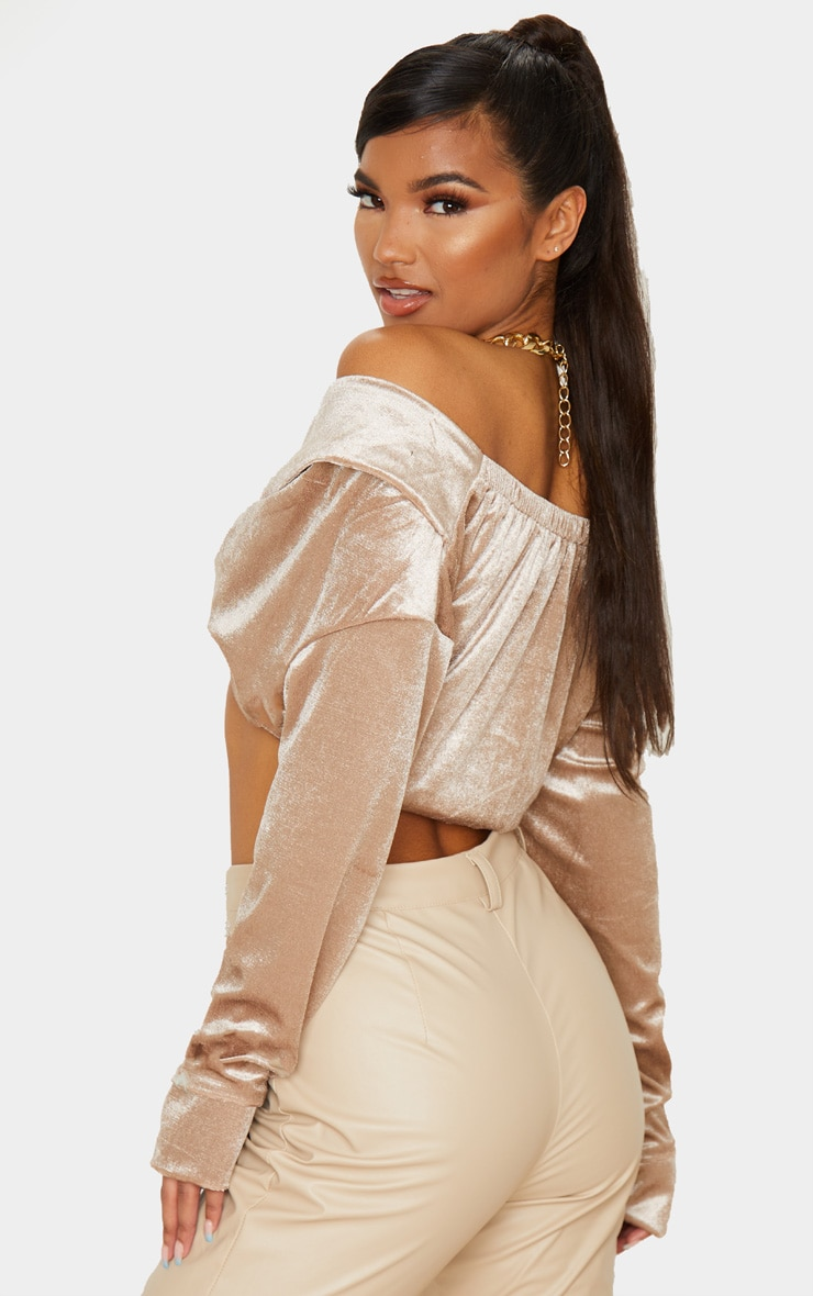 Stone Velvet Twisted Front Bardot Long Sleeve Crop Top 2