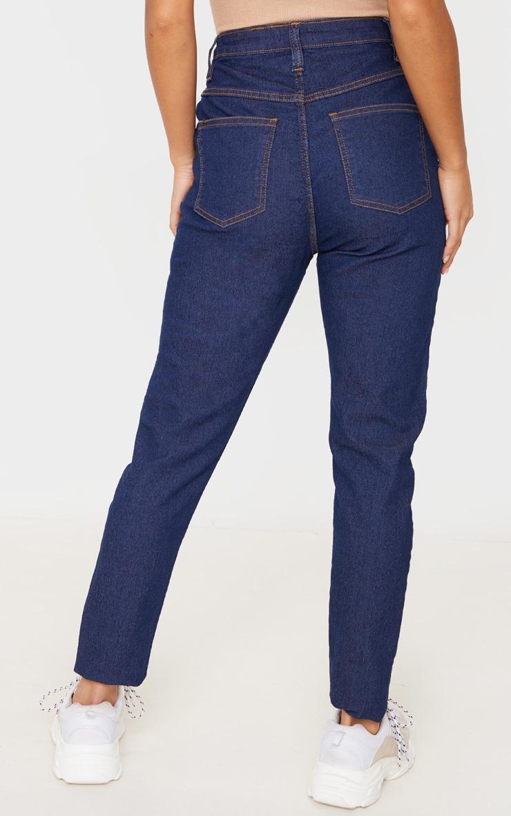 Petite Dark Blue Wash Skinny Button Front Denim Jean 4