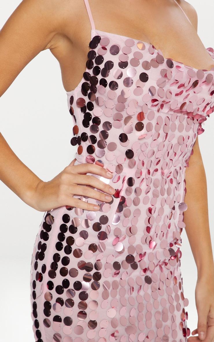 Pink Disco Sequin Cowl Neck Bodycon Dress 4