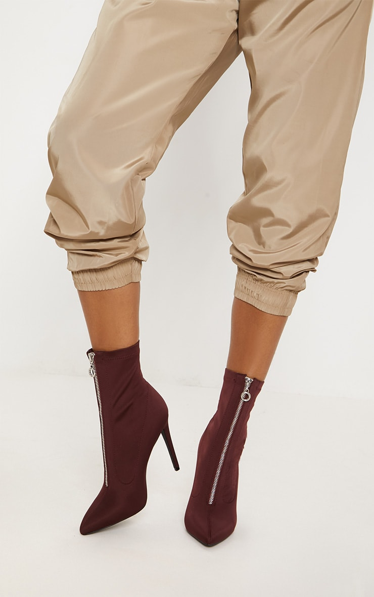 Wine Lycra Zip Front Sock Boot 1