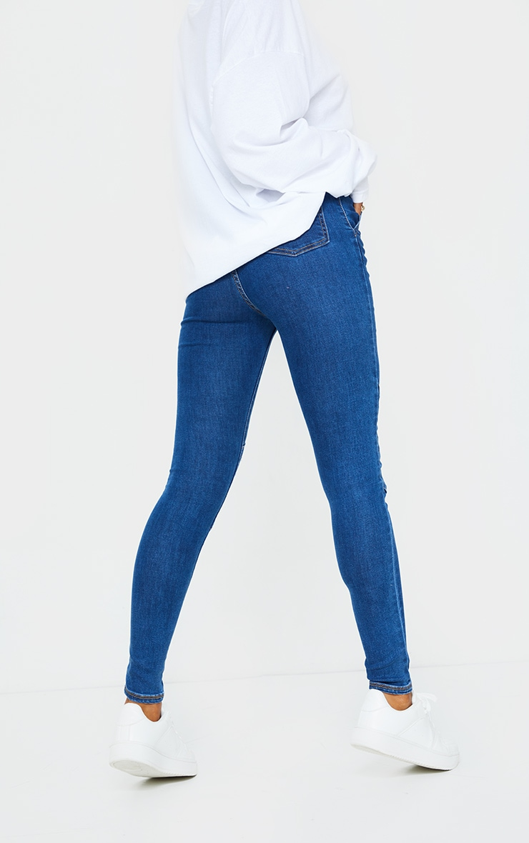 Dark Blue Wash Denim Biker Jeans 3