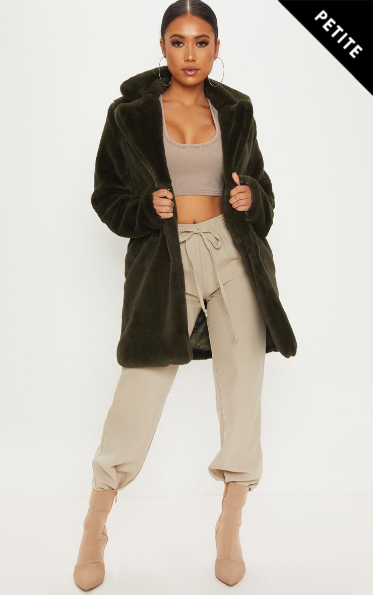 Petite Olive Green Faux Fur Coat
