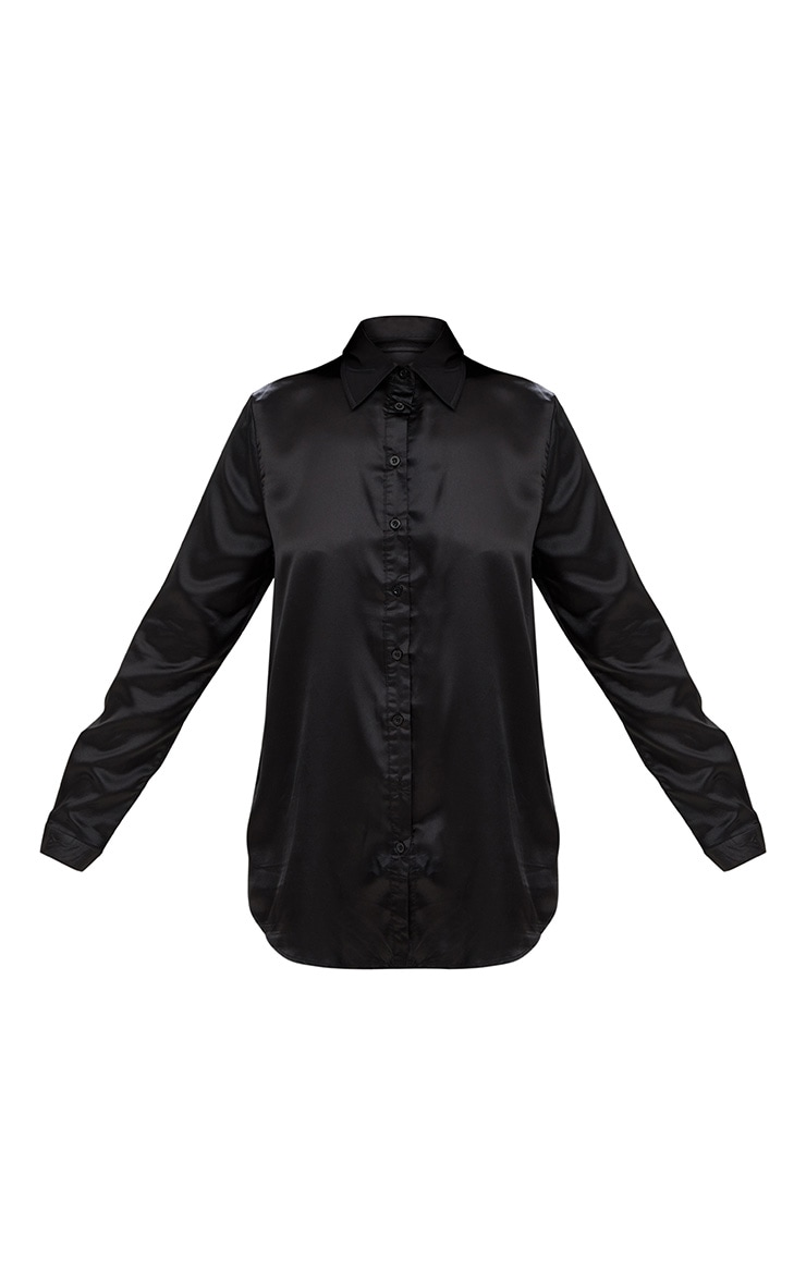 Black Satin Button Front Shirt 2