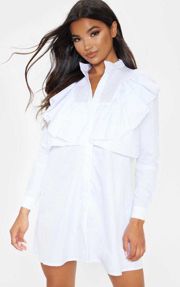 Flora White Frill Front Shirt Dress 1