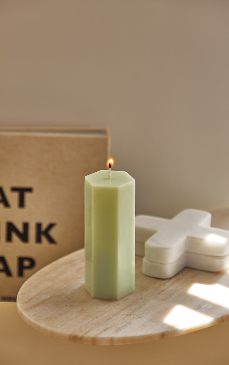 Lime Hexagon Pillar Scented Soy Wax Candle 11cm 2