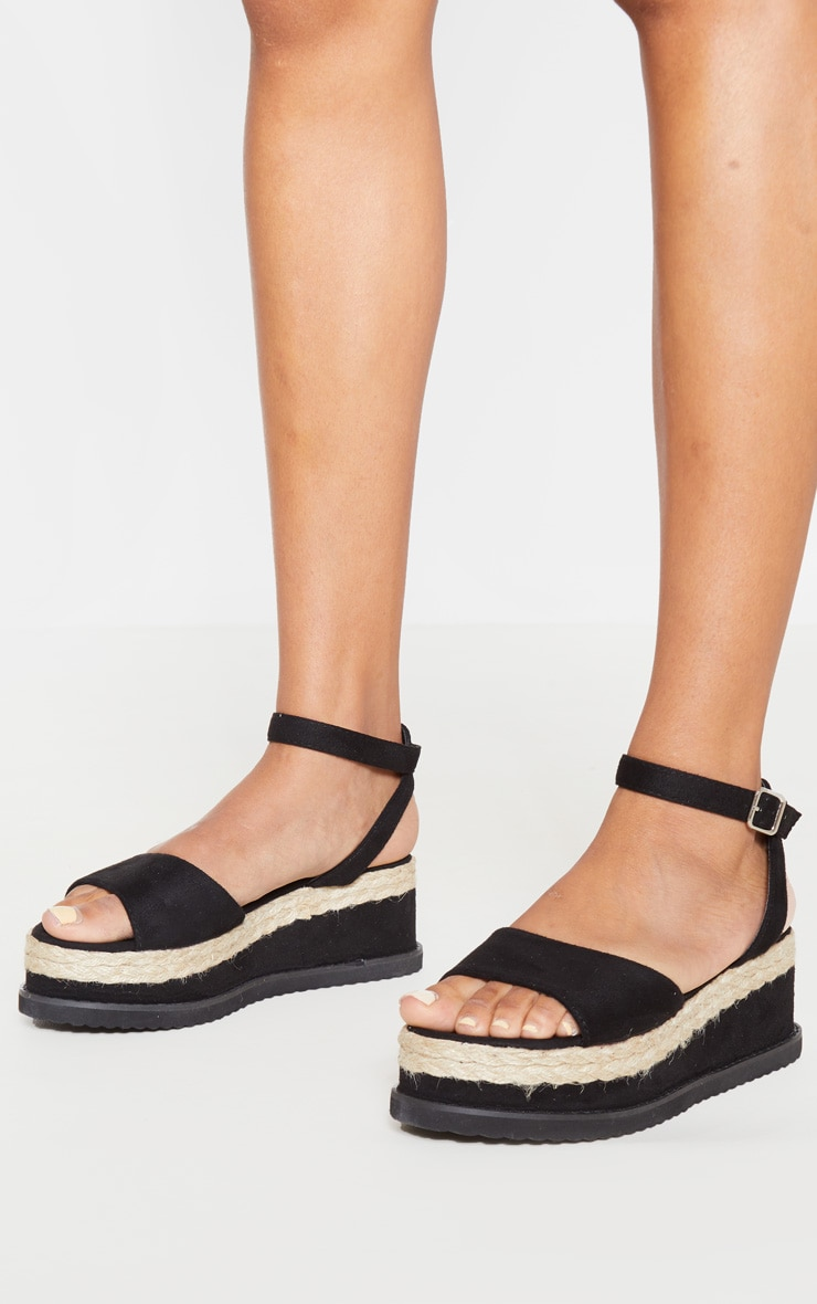 Black Faux Suede Flatform Sandal 3