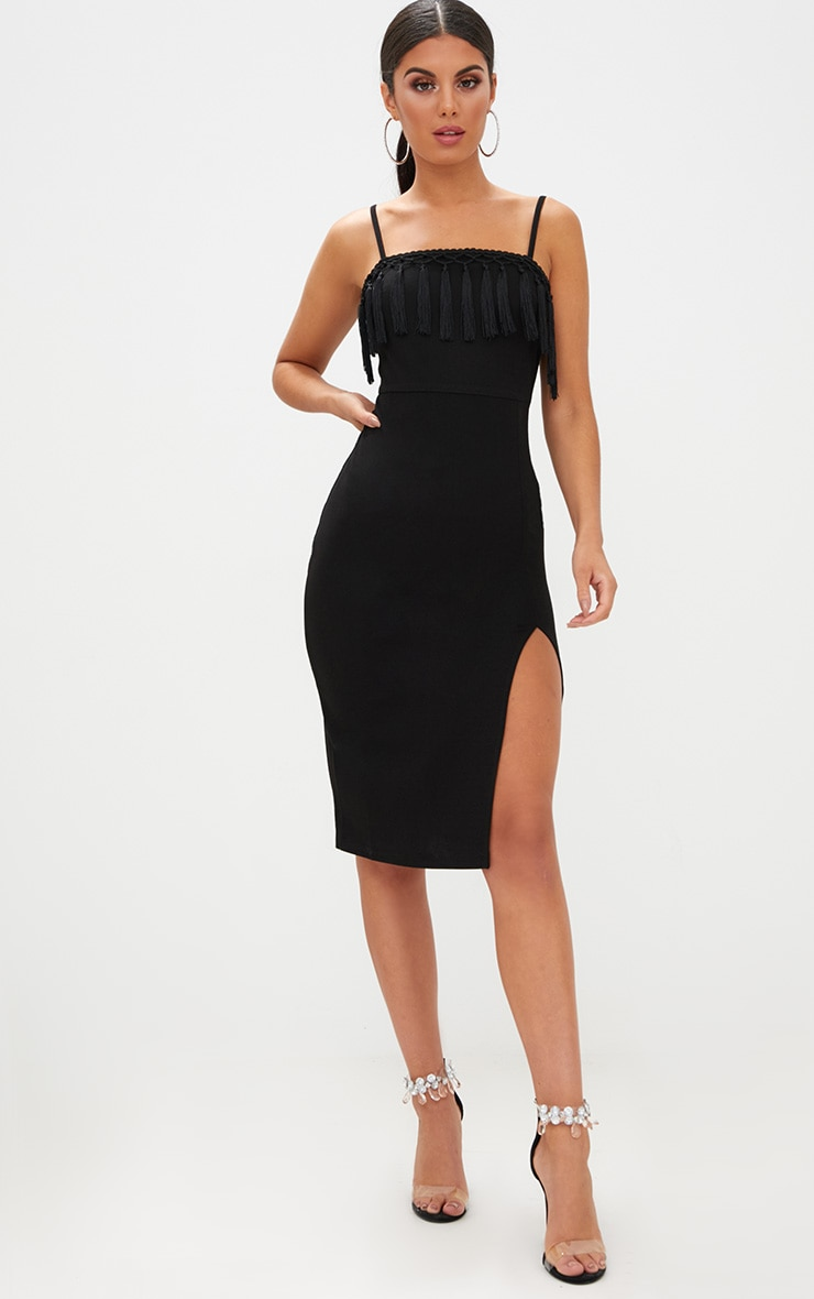 Black Strappy Tassel Detail Side Split Midi Dress Dresses
