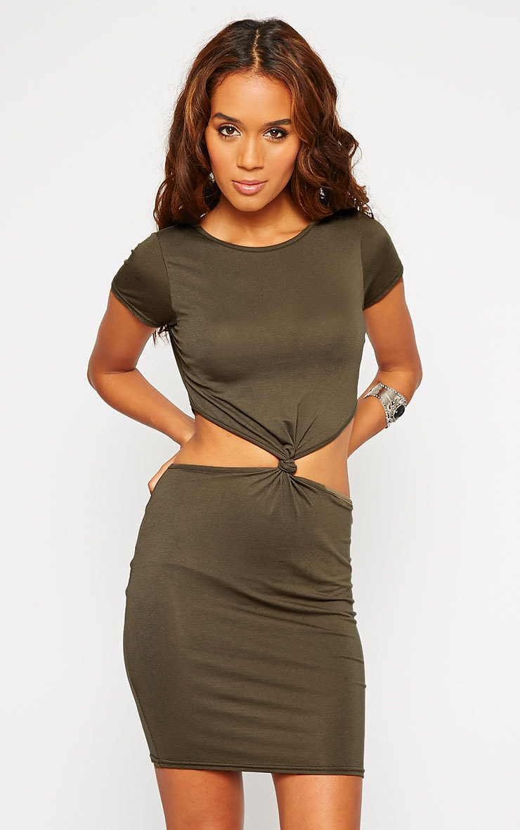 Sukie Khaki Twist Front Mini Dress 1