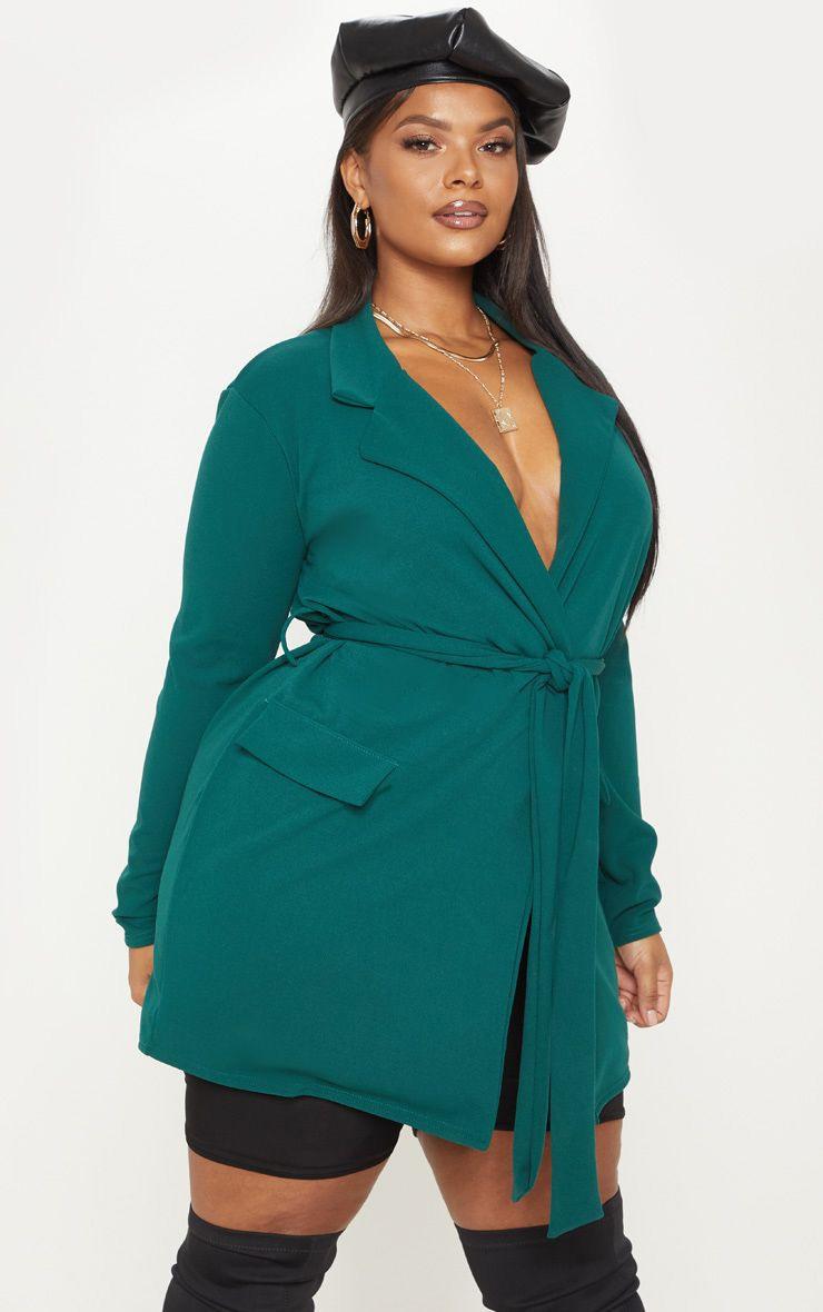 Plus Emerald Green Pocket Detail Tie Waist Blazer 1