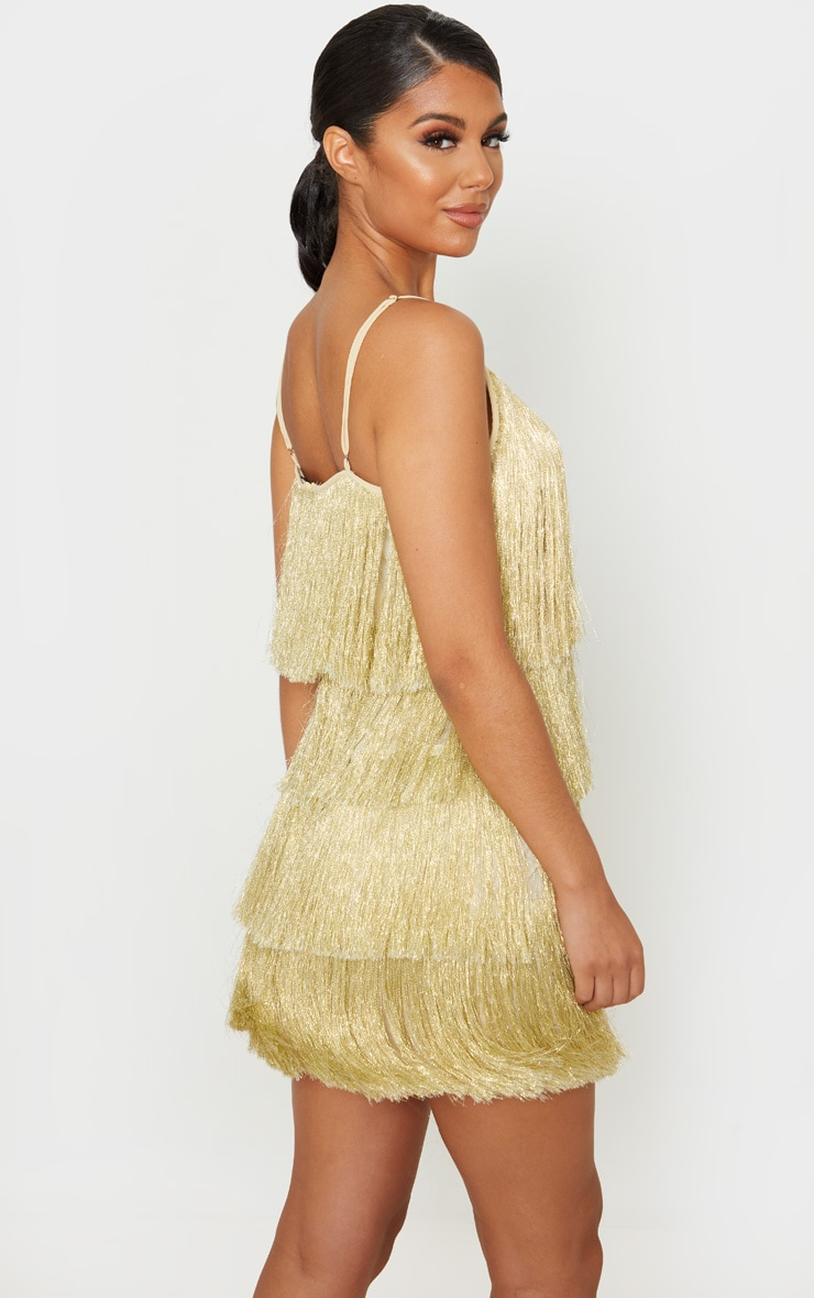 Gold Tassel Fringed Strappy Bodycon Dress 2