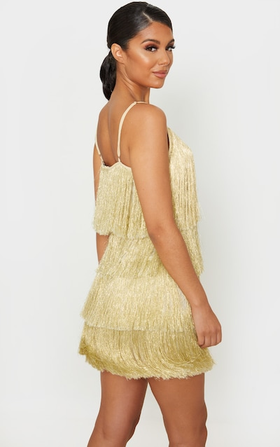Gold Tassel Fringed Strappy Bodycon Dress