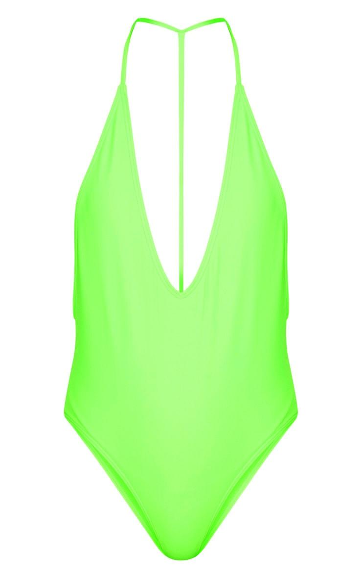 Lime T Bar Plunge Swimsuit 3