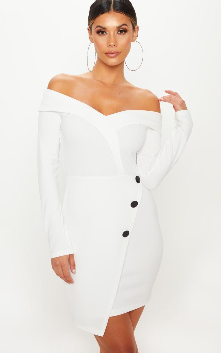 White Bardot Contrast Button Blazer Dress