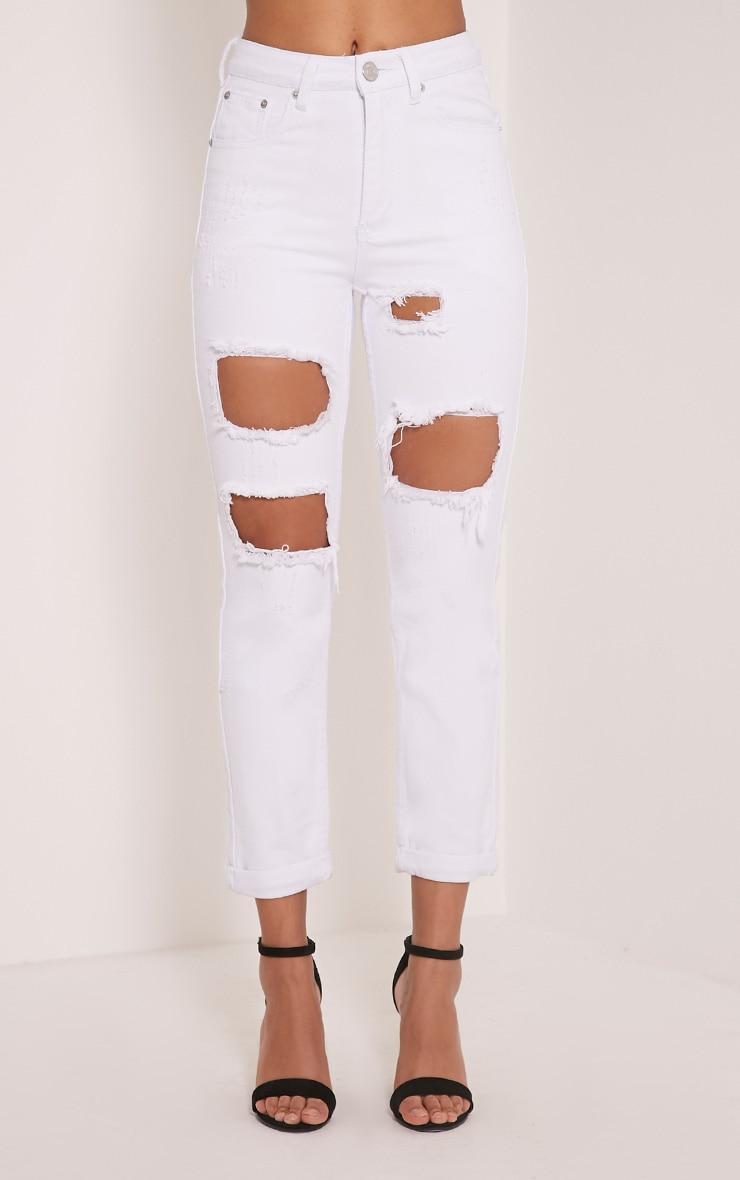 Carley White Extreme Rip Boyfriend Jeans 2