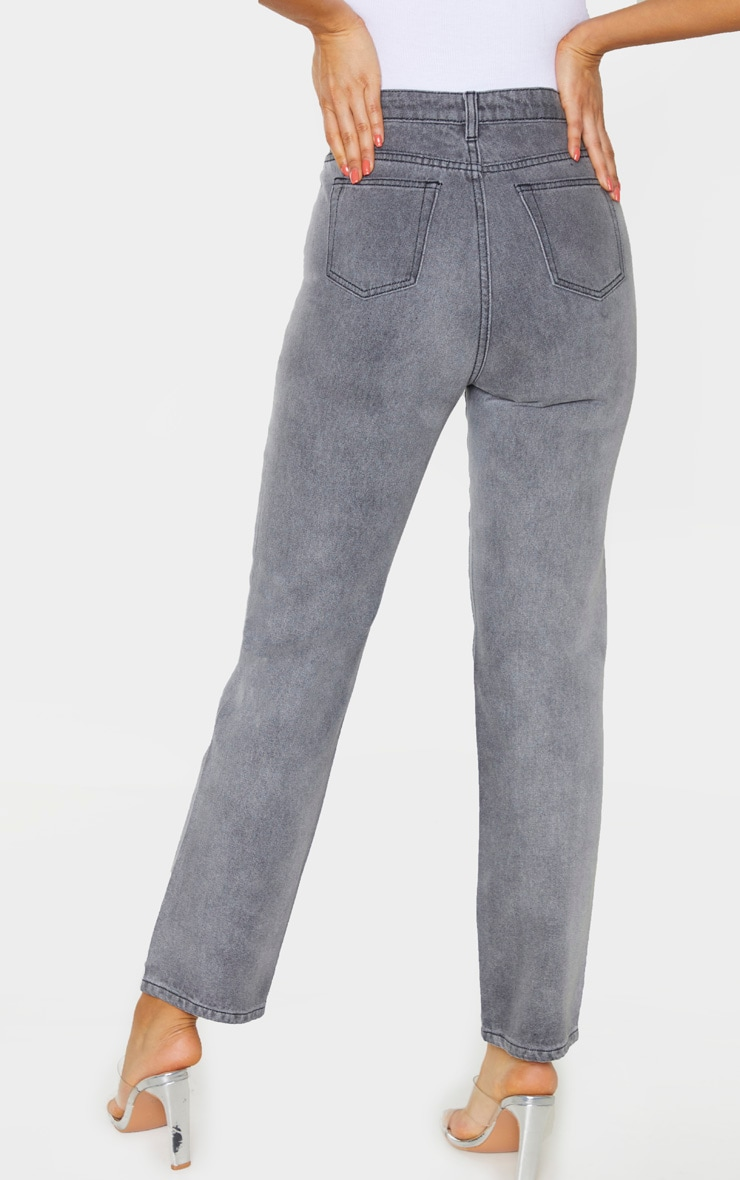 PRETTYLITTLETHING Tall  Grey Straight Leg Jeans 3