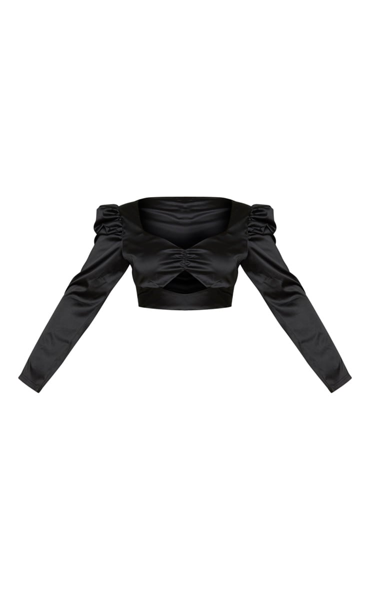 Plus Black Satin Bow Front Puff Sleeve Crop Top 3