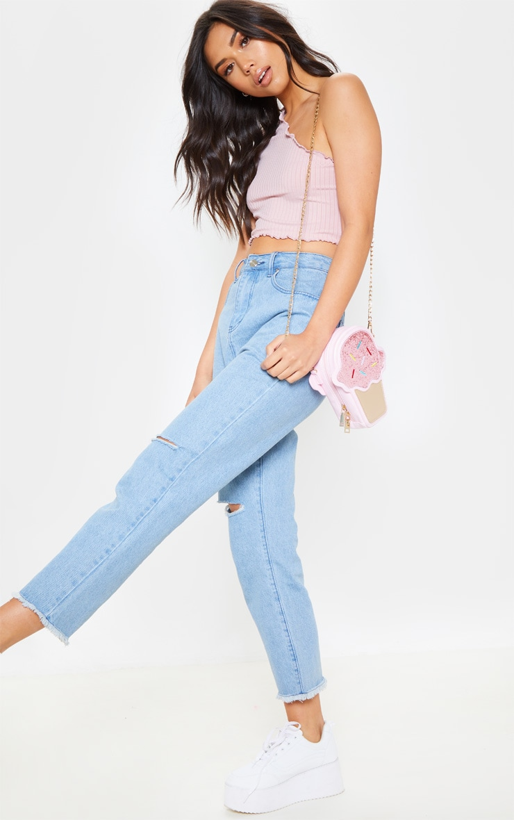 Dusty Pink Rib Frill One Shoulder Crop Top 4