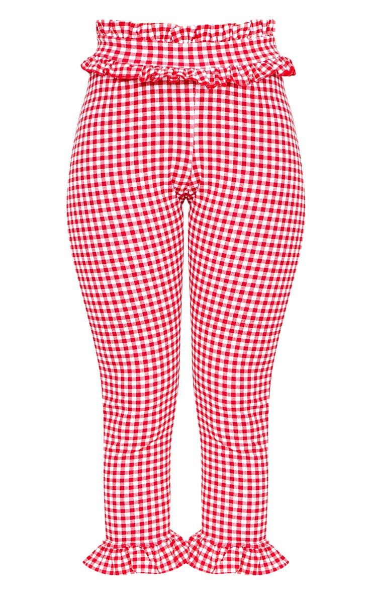 Keren Red Gingham Frill Trim Trousers 3