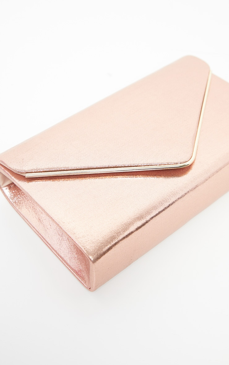 Rose Gold Metallic Boxy Envelope Clutch Bag 1