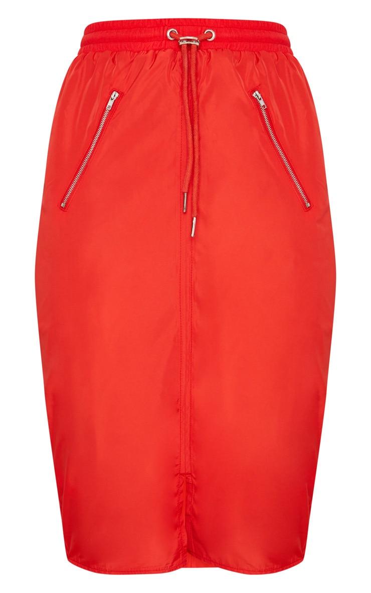 Red Shell Drawstring Midi Skirt  3