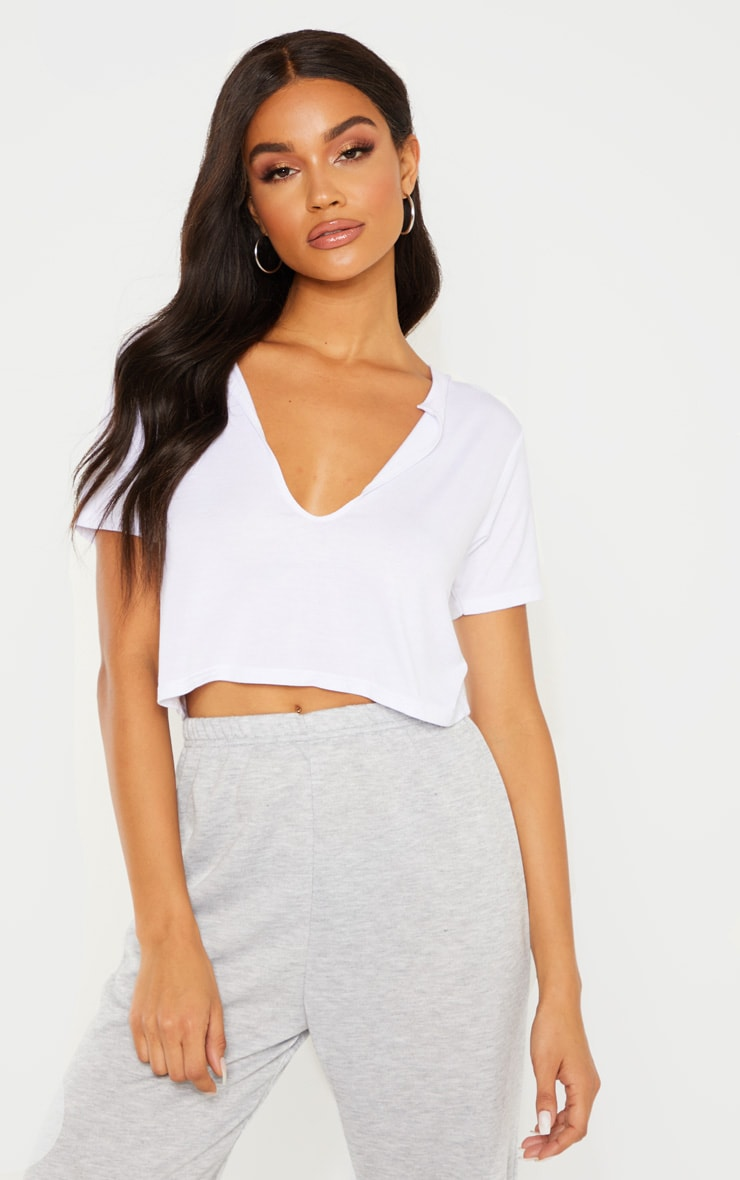 Basic White V Neck Crop T Shirt 1
