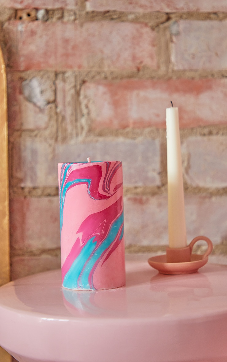 Multi Neon Tropics Marble Candle 5