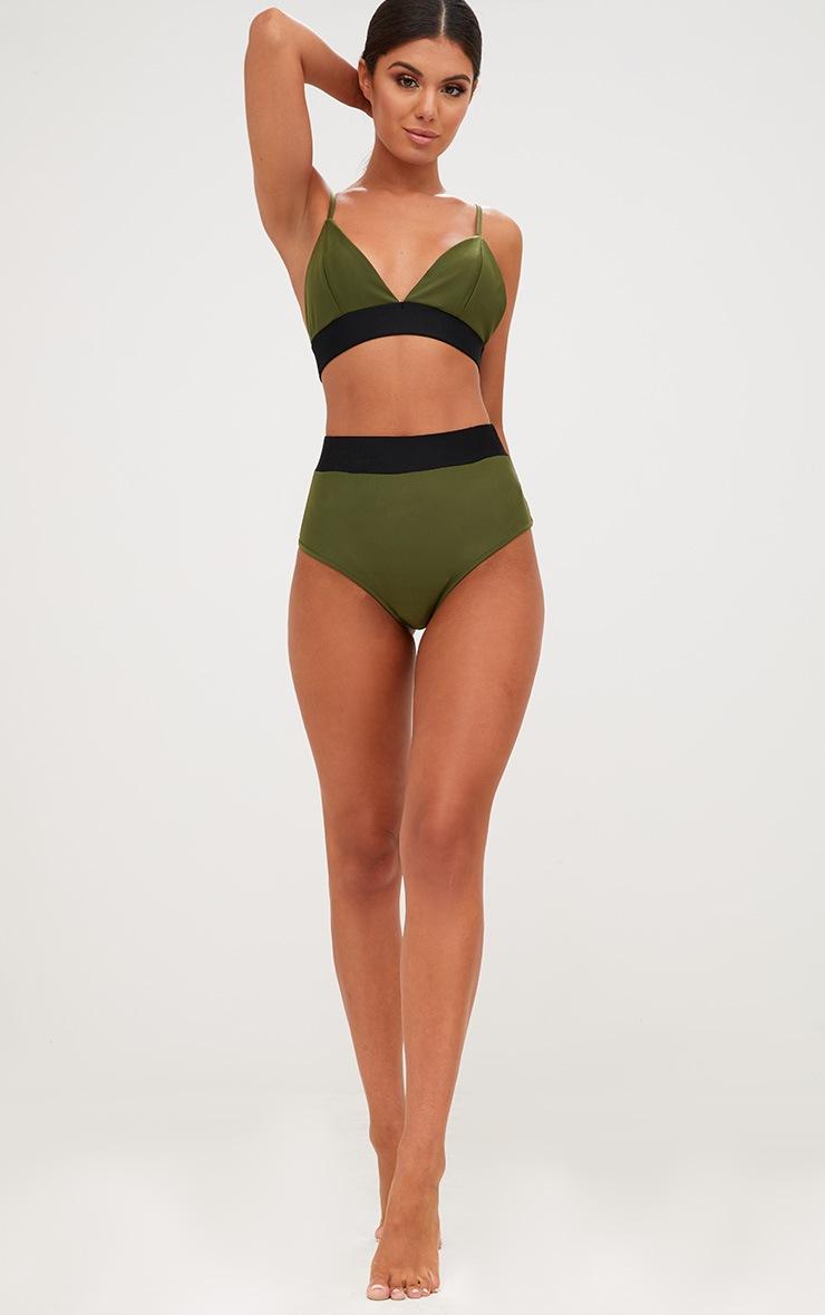 Khaki Contrast High Waisted Bikini Bottoms 2