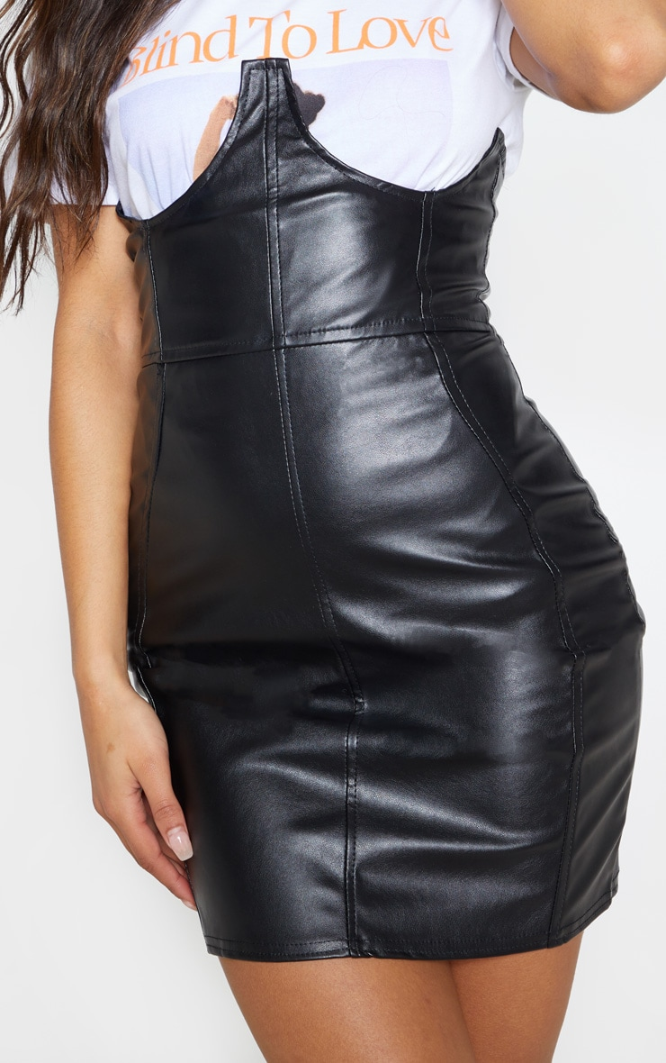 Black Faux Leather High Waisted Bustier Mini Skirt 6
