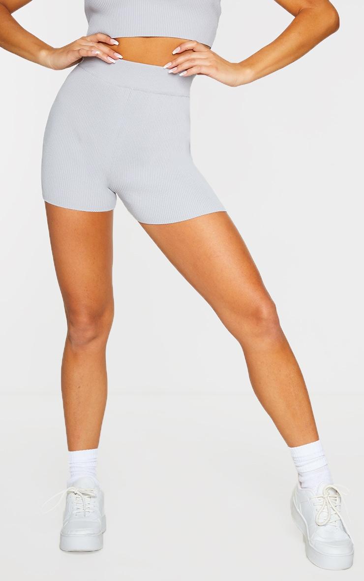 Grey Ribbed Knitted High Waist Hotpant Shorts 2