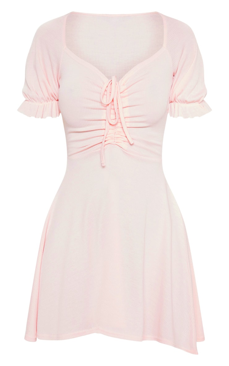 Baby Pink Rib Ruched Front Skater Dress  3