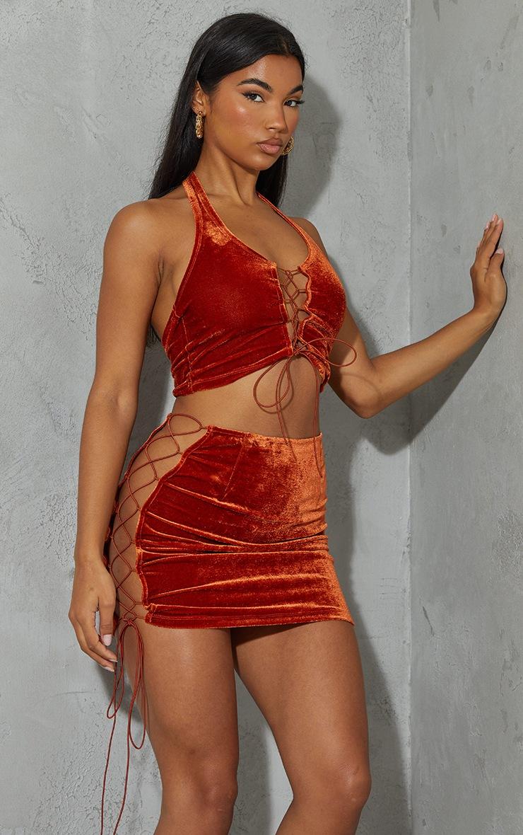 Burnt Orange Velvet Lace Up Side Mini Skirt 4