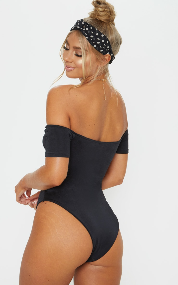 Black Bardot Ruched Front Swimsuit 2