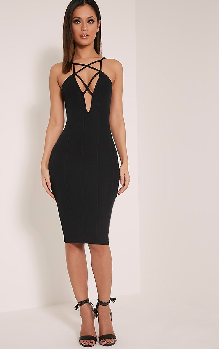 Zavia Black Strap Detail Bandage Midi Dress 1