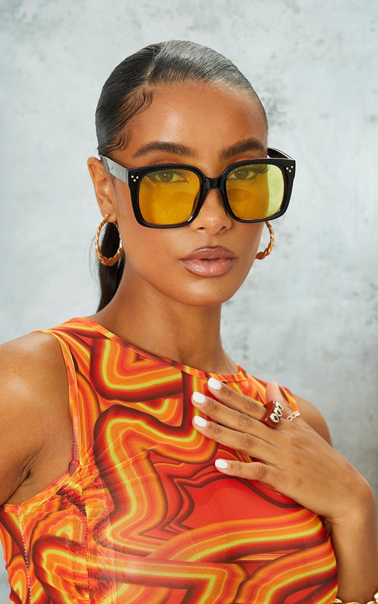 Black Square Frame Yellow Lens Sunglasses 1