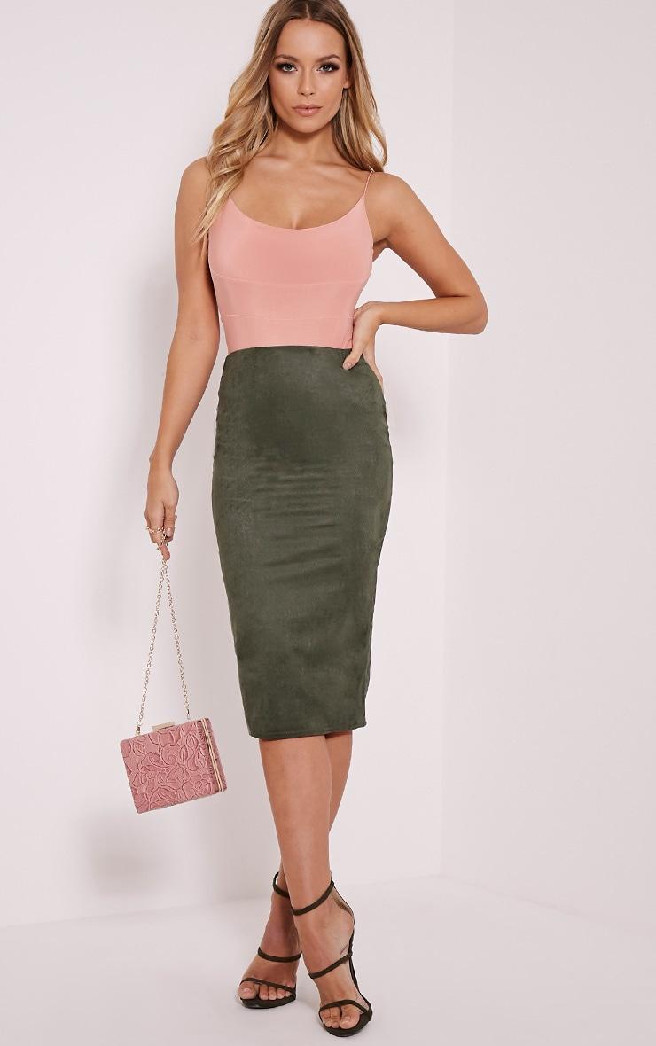 Aggie Khaki Suede Midi Skirt 1