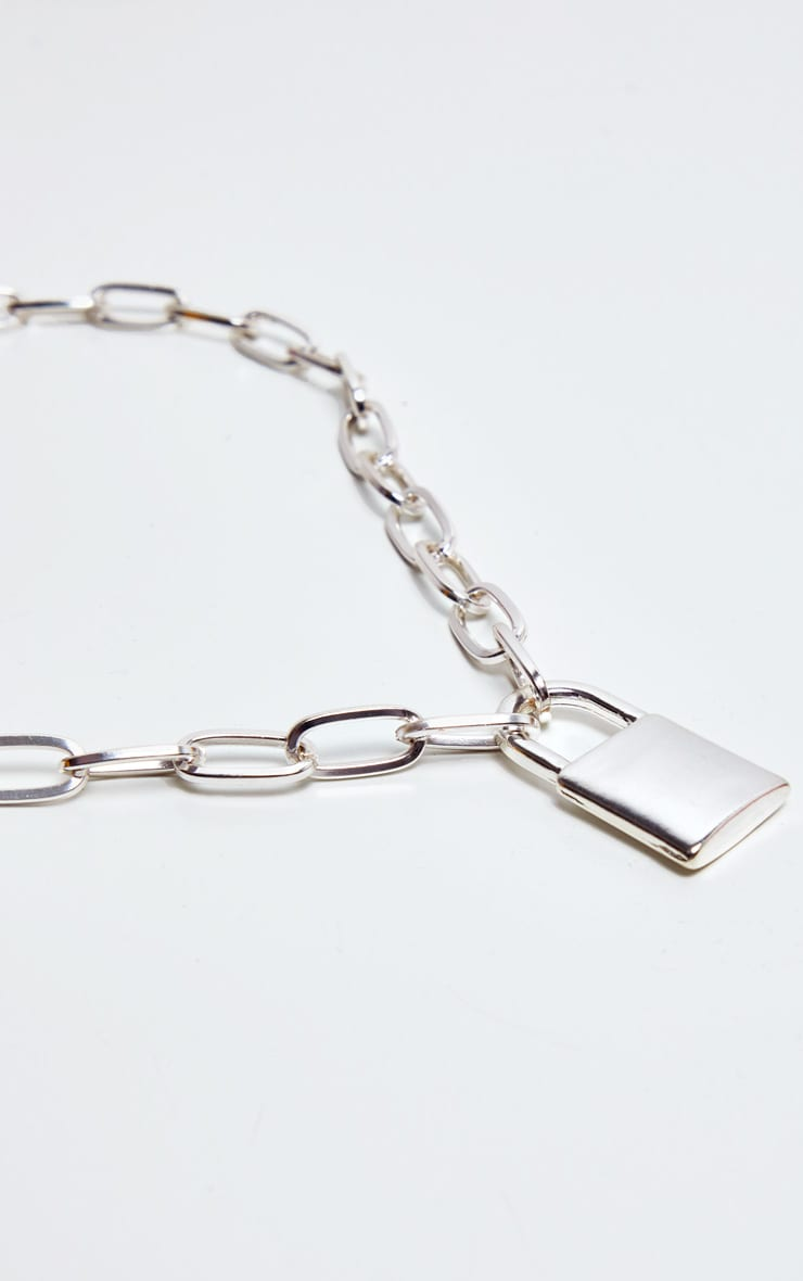 Silver Padlock Chunky Chain Necklace 4