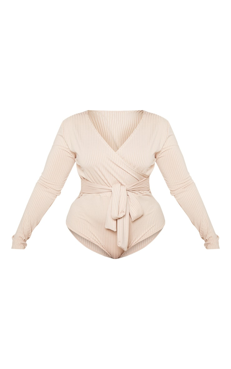 Plus Nude Ribbed Tie Waist Bodysuit  3